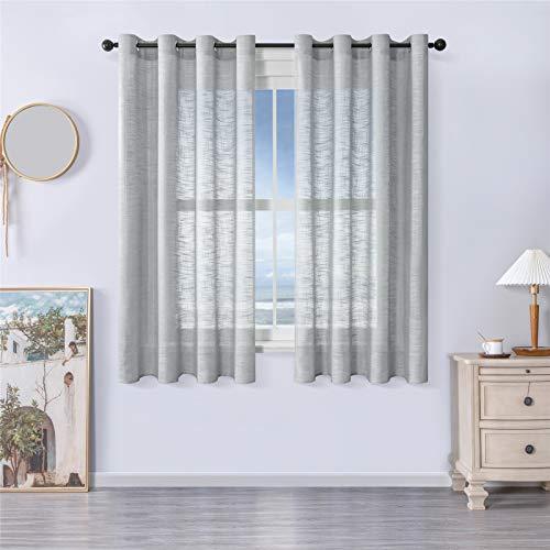 MRTREES Voile Gardinen kurz 2er-Set Leinenoptik Vorhang mit Ösen im Modernen Stores Gardinen Schals Grau 145×140 (H×B) für Wohnzimmer Schlafzimmer Kinderzimmer