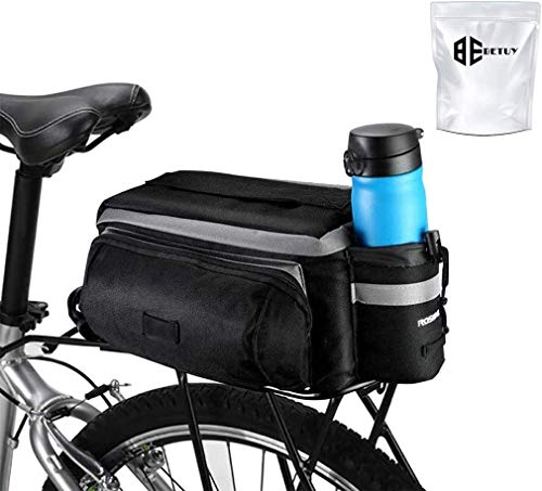 N \ A Waterproof Rear Seat Bag, 7L Mountain Bike Outdoor Sport Saddle Bag with Reflective Stripe, Spare Luggage Accessories, Shoulder Bag with Hydration Pack (Black)
