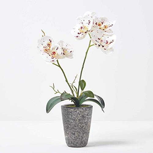 HOMESCAPES Artificial White Orchid in Pot 46 m Tall Lifelike Faux Orchid Plant In Grey Cement Pot with Real Touch Silk Flowers and Green Leaves Phalaenopsis Orchid Flower for Indoor Decoration
