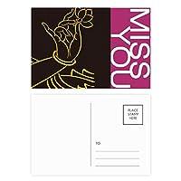 仏教は、仏教の手のロータスの単純なパターン ポストカードセットサンクスカード郵送側20個ミス