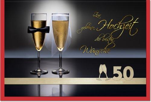 metalum Premium-Glückwunschkarte zur goldenen Hochzeit mit romantischem Motiv und ausgefallener, filigraner Echtholzverzierung