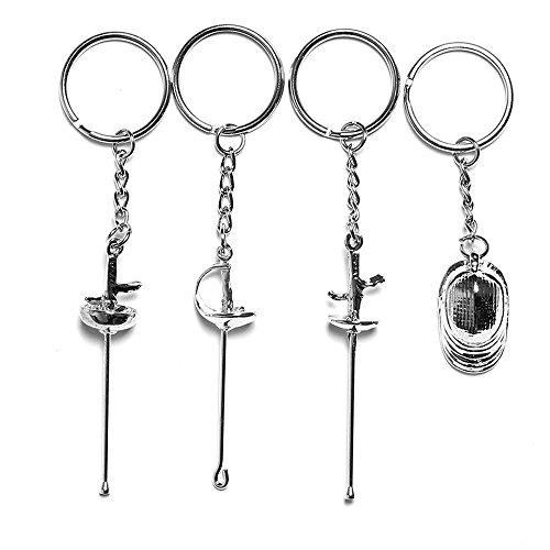 LEONARK Customized Gift für Fechter - Geschenk für Sabre Degen und Folien Fechter - Souvenir Schlüsselanhänger Anhänger für Fechtsportfans (Silver)