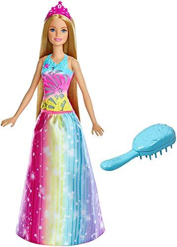 Barbie Bambola Principessa Pettina e Brilla con Capelli Biondi e Abito Arcobaleno, Giocattolo per Bambini 3 + Anni, FRB12