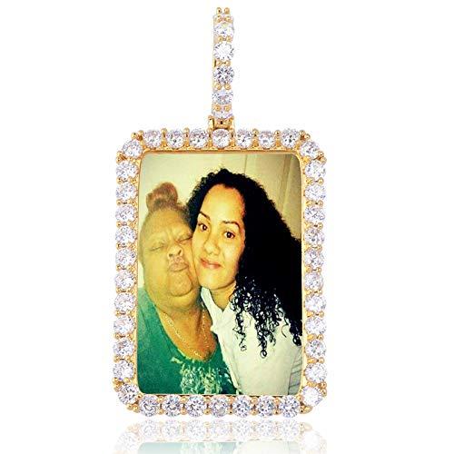 Heren Hip Hop Iced Out Op maat gemaakte fotolijst Memory Medallions Hanger Ketting met Tennis Ketting Cubic Zirkoon Rapper Sieraden, Goud, 7.8cm*4cm