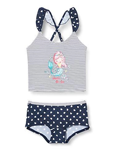 ESPRIT Bodywear Mädchen Sweet Hearts AOP Hotpants Tankini-Set, 401/NAVY 2, 128/134