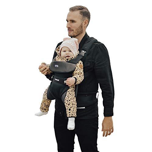 Lascal M1 Carrier Mochila portabebés ergonómica para moverse fácilmente, mochila para niños y recién nacidos (3,5 kg – 15 kg), con asiento infantil M-Seat, negro/gris