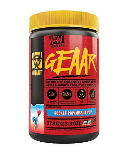 MUTANT GEAAR - 9.4g of EAA Powder + Arginine, 7g BCAAs, 4g Leucine, Electrolytes, Coconut Water, No Artificial Colours or Flavours, Delicious Taste - 30 servings - Rocket Pop - 378g