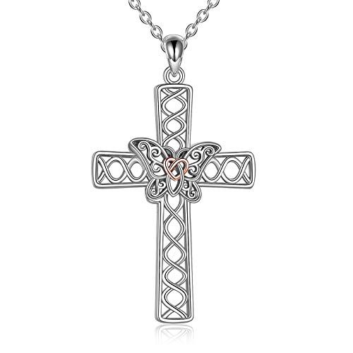 Cross Necklace 925 Sterling Silver Celtic Knot Butterfly Cross Necklace Pendant for Women Mom Butterfly Jewelry Gifts