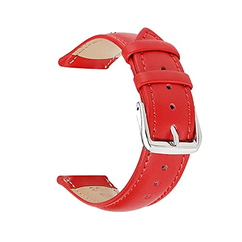 Lederband 14-22mm Lederband mit Edelstahl-Wölbung, rot, 20mm