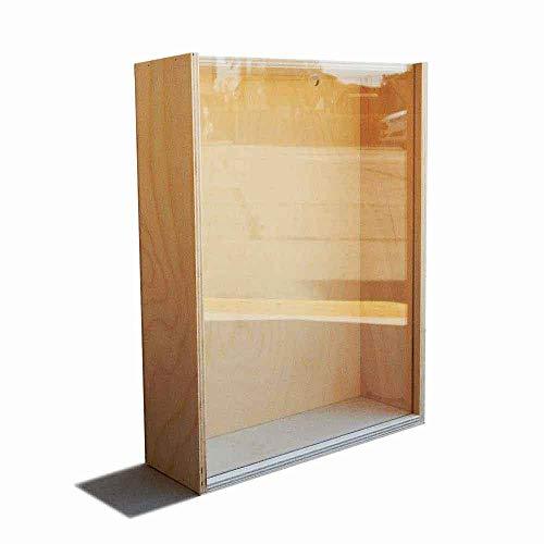 Caja de madera de abedul sin tratar, con tapa deslizante transparente, 27 x 21,5 cm