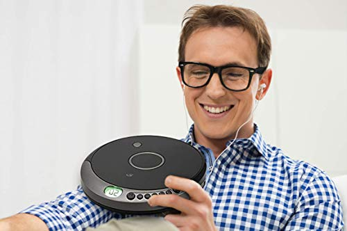 Personal Portable MP3/CD Player with Anti-Skip Protection and Stereo Earbuds, PC807BMP3U Black/Gray. (Power via Micro USB or 2 AA Batteries (not Included) 6