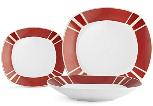 H&H H&H Marco - Juego de Vajilla de 18Piezas - Línea Cuadrada - Juego de vajilla de Porcelana - Color Blanco