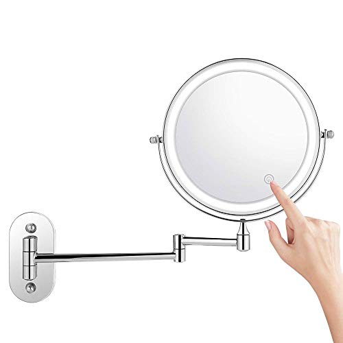 LOHOX LED Miroir Mural Double Face Mirroir de Maquillage Cosmétique 3X / 5X / 7X / 10x Grossissement, 360° Pivotant Extensible par Batterie 4 * Pile AAA (sans Pile)