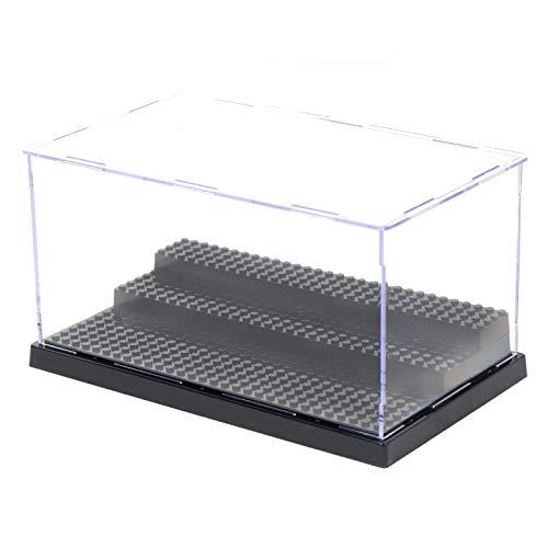 MIMIEYES Estuche de Acrilico Caja de Presentacion (10 x 5.7 x 5.3 Inches) Perspex Polvo Proof Show Case Base para Lego Minifigures Brick Building Block (Negro)