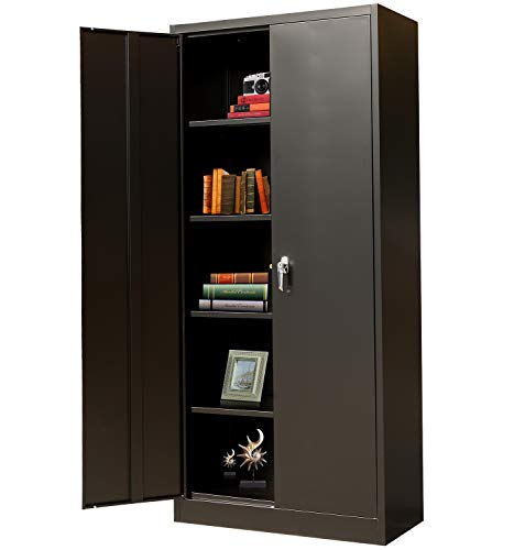 """BESFUR Metal Storage Cabinet with 2 Doors and 4 Shelves, Lockable Steel Storage Cabinet for Office, Garage, Warehouse, 70.86"""" H x 31.5"""" W x 15.75"""" D (Black)"""