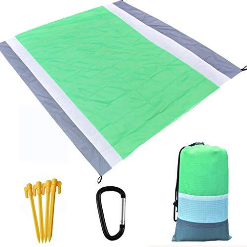 Picknickdecke Stranddecke Wasserdicht Insulation 210X200CM, Matte mit 4 Pfosten und Tasche, Campingdecke Sandabweisend Strandmatte Outdoor Campingdecke für Reisen Wandern Camping (Grün)