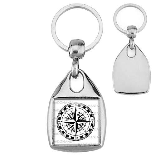 Porte Clés Carré Acier Compas Boussole 2 - Symbole Marin - Idée Cadeau