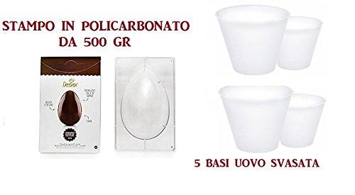ARCOBALENOPARTY - Set N3 per Realizzare Uova di Pasqua Home Made(Stampo Decora in POLICARBONATO da 500 GR, 5 BASI Uovo Svasata )