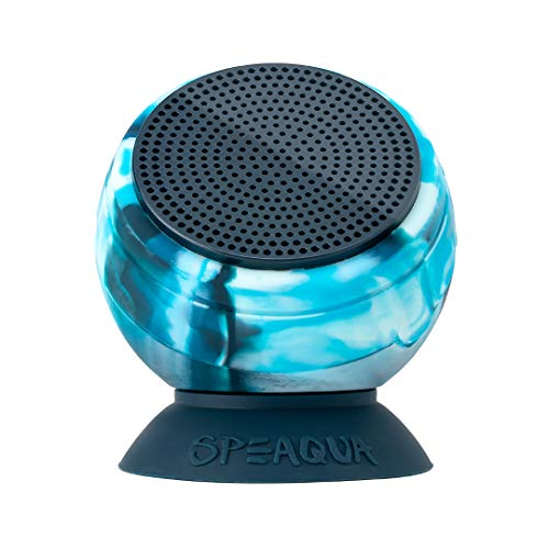 Speaqua - Functionally Waterproof, Floatable, Bluetooth Speaker with Built in Internal Storage (Up to 2,000 Songs) - Dual Pairing - Removable SuctionBarnacle Pro Series - Tidal Blue