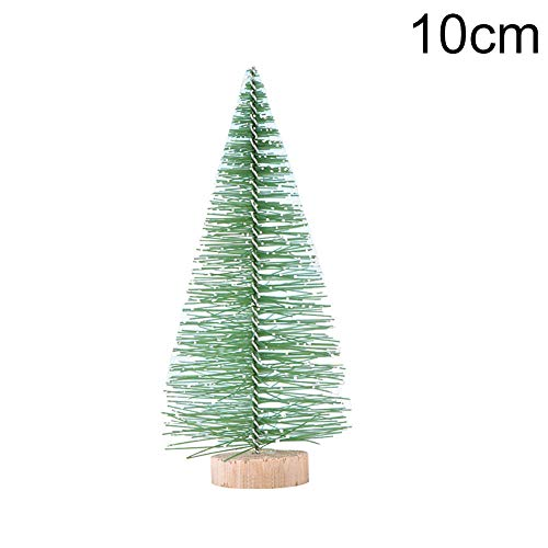 LOadSEcr Artificial Plant,Plastic Artificial Plants, Mini Artificial Snowy Xmas Tree Pine Model Terrariums Micro Landscape Decoration for Bathroom, House Decorations Light Green Snowflake Tree 10cm