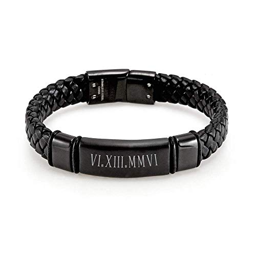 EVE'S ADDICTION Men's Chisel Custom Roman Numeral Matte Black Leather Bracelet