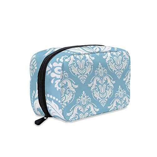 White and Light Blue Damasks Makeup Bag Zipper Pouch Travel Toiletry Bag Cosmetic Accessories Organizer Purse Large Portable for Women Girls