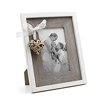 Afuly Wooden Picture Frame 4x6 Rustic Photo Frames with Love Heart in White and Brown Family Wedding Gift