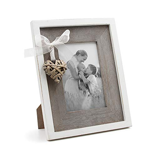 Afuly 10x15 Bilderrahmen aus Holz mit Liebesherz Shabby Chic Portraitrahmen in Rustikalen Vintage Landhaus Braun