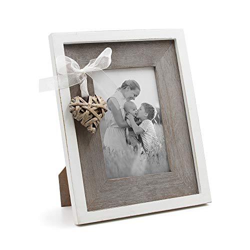 SUMGAR rústico Love Marco de Fotos para Escritorio 4x 6Marcos de Fotos de Madera con Hecha a Mano corazón Envejecido en marrón y Blanco
