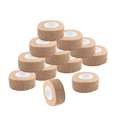 Self Adherent Wrap Tape Medical Cohesive Bandages Flexible Stretch Athletic Strong Elastic First Aid Tape for Sports Sprain Swelling and Soreness on Wrist and Ankle 12 Pack 1Inch X 5Yards(Beige)
