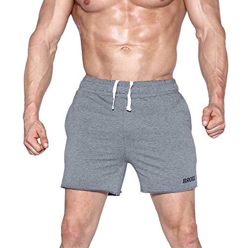 EK - Pantalones cortos de gimnasia para hombre, 5 pulgadas, ligeros, con cremallera, bolsillos, Primavera-Verano, Hombre, color gris, tamaño 42