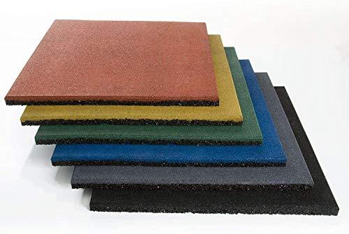 Fallschutzmatte Play Protect   Bodenmatte für Spielplatz & Garten   Dämpfende & rutschfeste Oberfläche   Wetterfest   in 25 oder 40 Millimeter Stärke (50 x 50 x 2,5 cm, Grau)