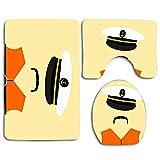 Graphic Navy Hat Sailor Wearing Chaleco salvavidas Drown Orange Almirante Anchor Black Boat Captain Design 3Pcs Set de baño Alfombra Mat Contour Mat + Tapa del inodoro + Alfombrillas de baño