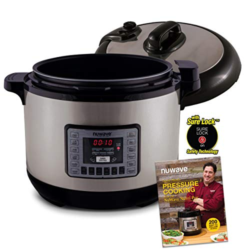 NUWAVE NUTRI-POT 13-Quart DIGITAL PRESSURE COOKER with Sure-Lock Safety System; Dishwasher-Safe Non-Stick Inner Pot; Glass Lid for Slow Cooking; Cooking Rack, 11 Pre-Programmed Presets; Detachable Pressure Pot Lid for Easy Cleaning; and Chef Tested 200 Recipe Pressure Cooking Cookbook.