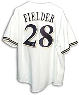 Autographed Prince Fielder Milwaukee Brewers White Majestic Jersey -APE COA