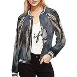 InterestPrint Women's Drawing Dog Alaskan Malamute Jacket Long Sleeve Zipper Outwear S