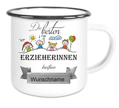 Crealuxe Emailletasse m. Wunschname Die besten Erzieherinnen heißen. Wunschname - Kaffeetasse mit Motiv, Bedruckte Tasse mit Sprüchen oder Bildern