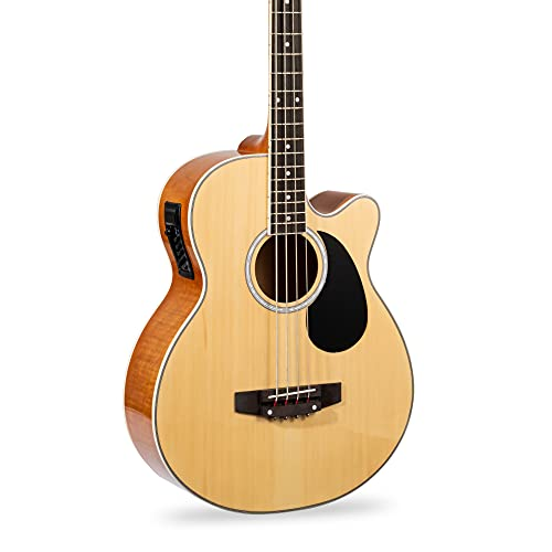 Best Choice Products Acoustic Electric Bass Guitar - Full Size, 4 String, Fretted Bass Guitar - Natural