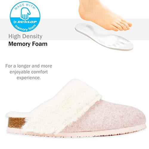 Dunlop Zapatillas Mujer, Zapatillas Casa Mujer con Forro Polar, Pantuflas Mujer Suela de Goma Antideslizante, Regalos para Mujer y Adolescentes Talla 36-41 (Rosa, Numeric_41)
