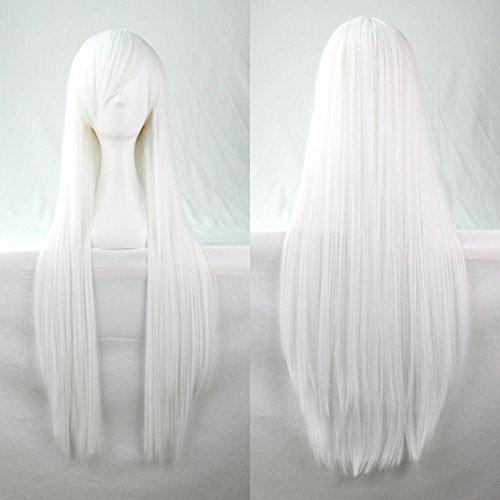 Kissparts 80cm Reines Weiß glattes Haar Cosplay Perücke mit Perückenkappe und Kamm