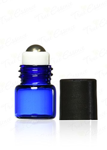 True Essence 1 ml, (1/4 Dram) Cobalt Blue Glass Micro Mini Roll-on Glass Bottles with Metal Roller Balls - Refillable Aromatherapy Essential Oil Roll On (144)