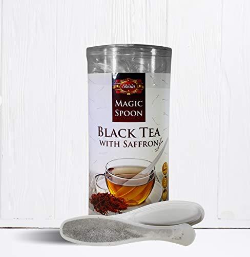 magic spoon flavors SHIRIN Black Tea With Saffron,MAGIC SPOON biodegradable,12 Count SpoonTea,Premium Quality