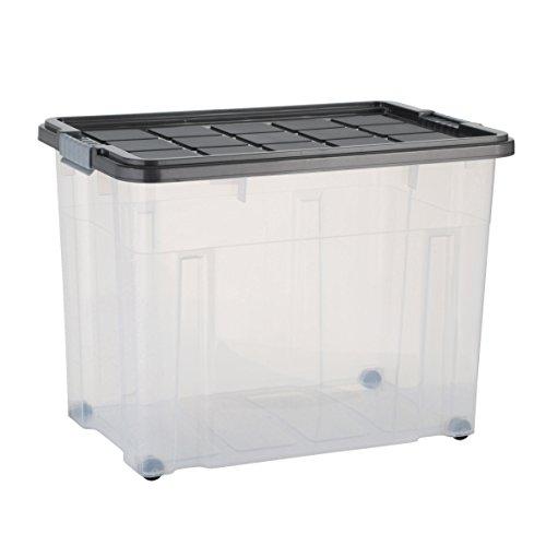 axentia Aufbewahrungsbox mit Rollen & Deckel, Stapelbox aus Kunststoff 80 Liter, Eurobox transparent, Maße: ca. 60 x 40 x 44,5 cm, Anthrazit, blau oder gelb - Farbe nicht wählbar