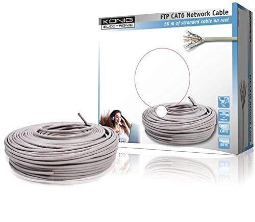 König CMP-FTP6R50 - Cable Ethernet de 50 metros, blanco