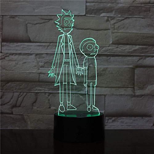 Dibujos animados Rick Morty Lámpara de mesa RGB Variable Mood Light Color Light Crack Pattern Base Cool Night Light Child Gift Illusion 16 Color Night Light 3D Lights Fairy Illusion Lamp 16 colores R