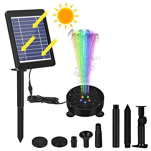 Solar Springbrunnen 3.5W Solar Teichpumpe mit Bunte LED Licht & Solar Panel Eingebaute 1800mAh Akku, Garten Wasserbrunnen Springbrunnen Solar Schwimmend Fontäne Pumpe für Garten Vogel-Bad Teich
