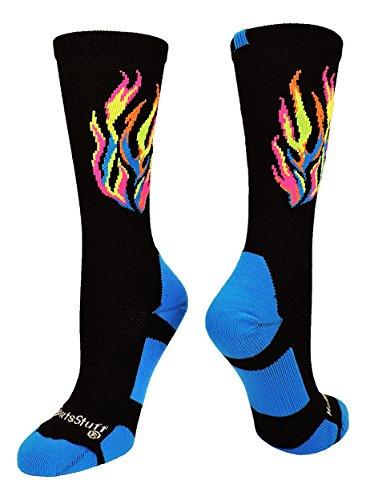 MadSportsStuff Calcetines deportivos de llama (varios colores), Large, negro (Multi-Neon/Black)