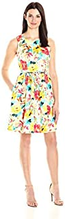 Sandra Darren Women's 1 Pc Sleeveless Floral Printed Cotton Sateen Dress