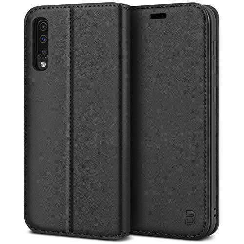 BEZ Handyhülle für Samsung Galaxy A50 Hülle, Samsung A30s Hülle, Premium Tasche Kompatibel für Samsung A50/ A30s, Schutzhüllen aus Klappetui mit Kreditkartenhaltern, Ständer, Magnetverschluss, Schwarz