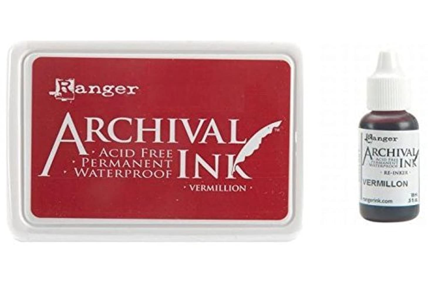 Ranger Archival Vermillion Red Permanent Dye Ink Stamp Pad & Re-Inker